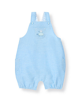 Blue Linen Turtle Linen Blend Shortall at JanieandJack