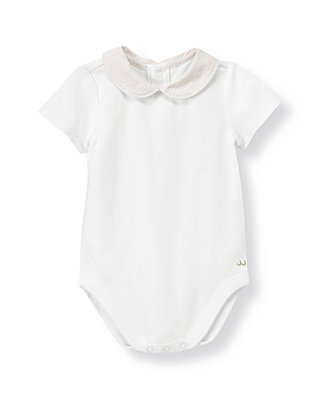 Pure White Striped Seersucker Collar Bodysuit at JanieandJack