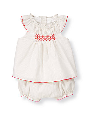 Baby Girl Khaki Stripe Embroidered Striped Seersucker Two-Piece Set at JanieandJack
