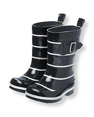 Dark Navy Stripe Stripe Rainboot at JanieandJack