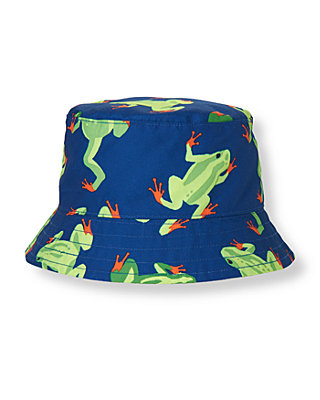 Boys Blue Frog Frog Bucket Hat at JanieandJack