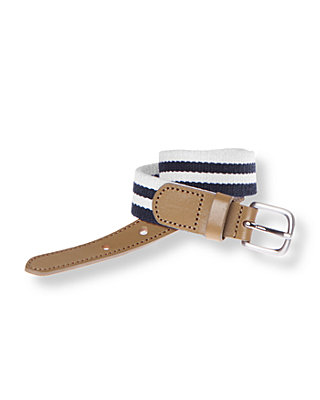 Boys Classic Navy Stripe Stripe Woven Belt at JanieandJack