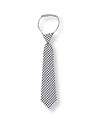 Boys Navy Gingham Gingham Seersucker Tie at JanieandJack