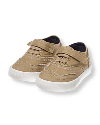 Classic Khaki Wing Tip Canvas Sneaker at JanieandJack