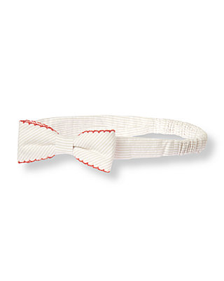 Khaki Stripe Bow Striped Seersucker Headband at JanieandJack