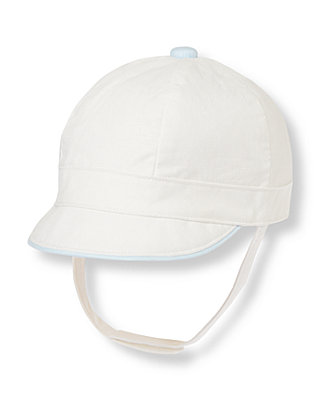Baby Boy Pure White Linen Blend Hat at JanieandJack