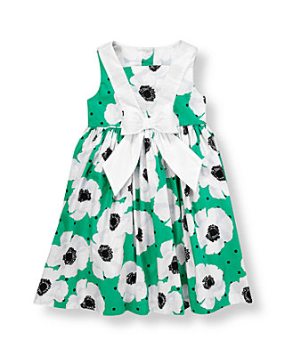 Emerald Green/White Poppy Poppy Poplin Dress at JanieandJack