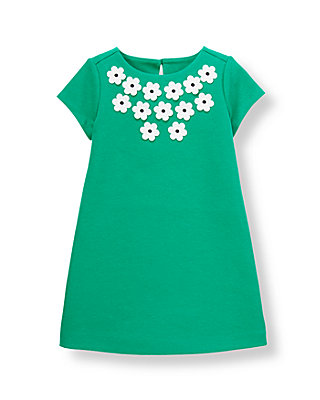 Emerald Green Flower Ponte Dress at JanieandJack