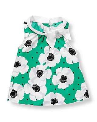 Emerald Green/White Poppy Poppy Poplin Top at JanieandJack