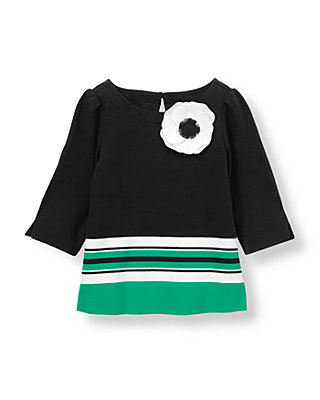 Black/Emerald Green Corsage Poppy Colorblock Top at JanieandJack