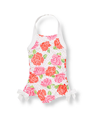 Pink Rose Bow Floral Swimsuit at JanieandJack