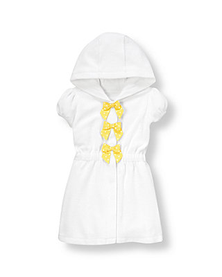 Pure White Bow Hooded Terry Swim Cover-Up at JanieandJack