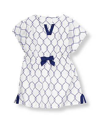 White/Marine Blue Rope Print Swim Cover-Up at JanieandJack
