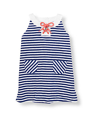 Marine Blue Stripe Stripe Terry Dress at JanieandJack