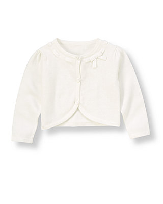 Pure White Bow Crop Cardigan at JanieandJack