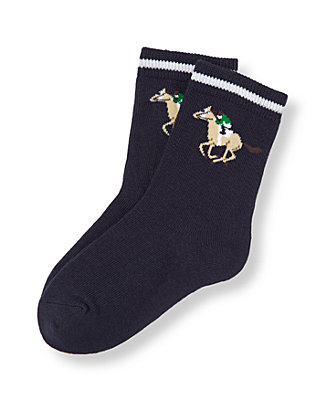 Boys Classic Navy Horse Jockey Sock at JanieandJack