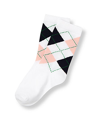 Boys Pure White Argyle Sock at JanieandJack