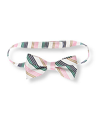 Boys Pure White Stripe Bowtie at JanieandJack