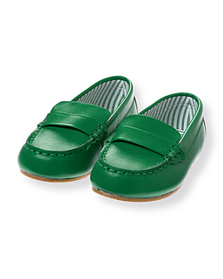 Derby Green Leather Loafer at JanieandJack