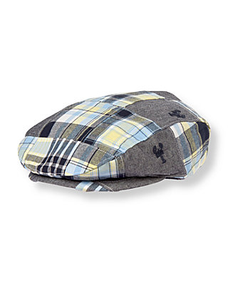 Boys Navy Plaid Patchwork Embroidered Lobster Patchwork Cap at JanieandJack