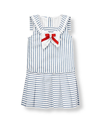 Balmy Blue Stripe Striped Sailor Dress at JanieandJack