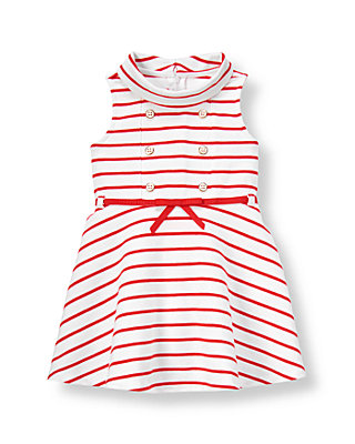 Vintage Red Stripe Stripe Ponte Dress at JanieandJack