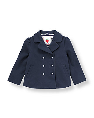 Spring Navy Double Button Ponte Coat at JanieandJack