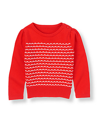 Vintage Red Scallop Stripe Sweater at JanieandJack