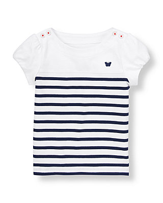Spring Navy Stripe Stripe Shoulder Button Top at JanieandJack