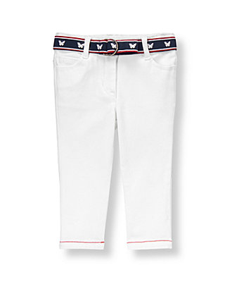 Pure White Belted Twill Pant at JanieandJack