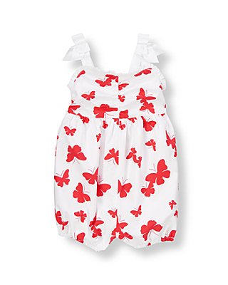 Vintage Red Butterfly Butterfly Bubble One-Piece at JanieandJack