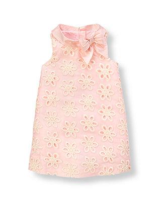 Petal Pink Floral Eyelet Silk Duppioni Dress at JanieandJack