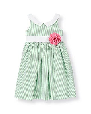 Fairway Green Stripe Corsage Stripe Seersucker Dress at JanieandJack