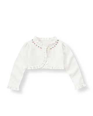 Pure White Hand-Embroidered Crop Cardigan at JanieandJack