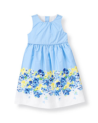 French Blue Floral Poplin Dress at JanieandJack