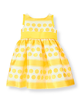 Daffodil Yellow Dot Dot Stripe Jacquard Dress at JanieandJack