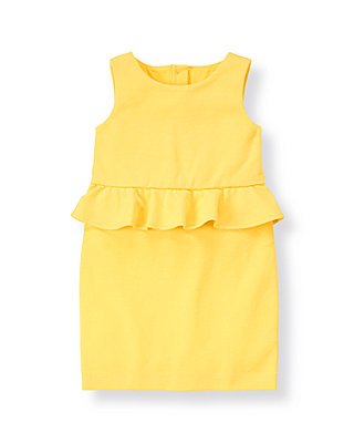 Daffodil Yellow Peplum Ponte Dress at JanieandJack
