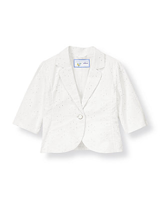 Pure White Eyelet Blazer at JanieandJack