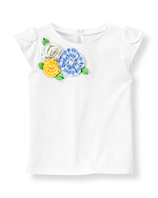 Pure White Mixed Print Rosette Knit Top at JanieandJack