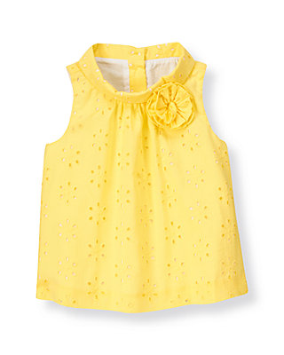 Daffodil Yellow Rosette Eyelet Top at JanieandJack