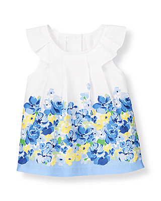 French Blue Floral Floral Pleated Top at JanieandJack