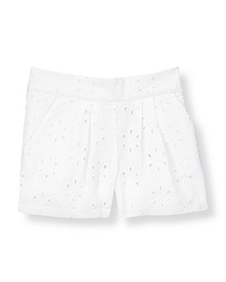 Pure White Pleated Eyelet Short at JanieandJack