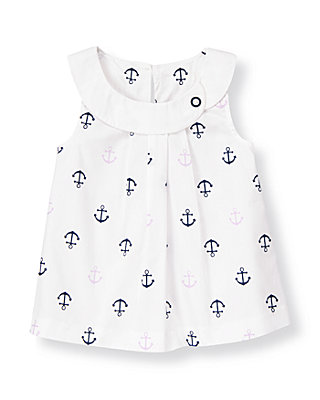 Pure White Anchor Poplin Top at JanieandJack