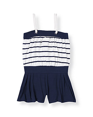 Classic Navy Striped Knit Romper at JanieandJack