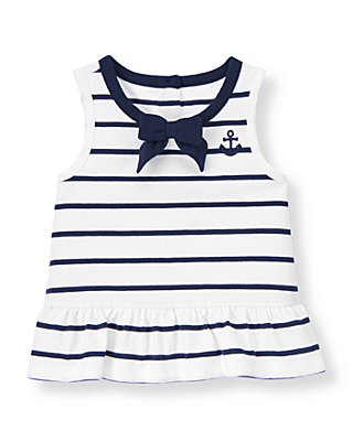 White/Navy Stripe Bow Anchor Striped Top at JanieandJack