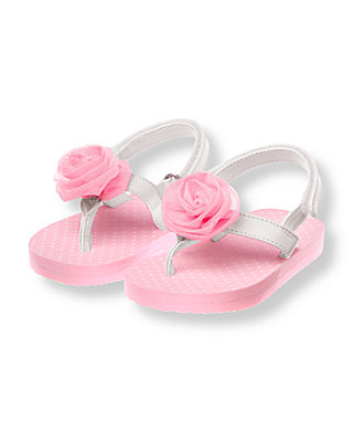 Lovely Pink Rosette Flip Flop at JanieandJack