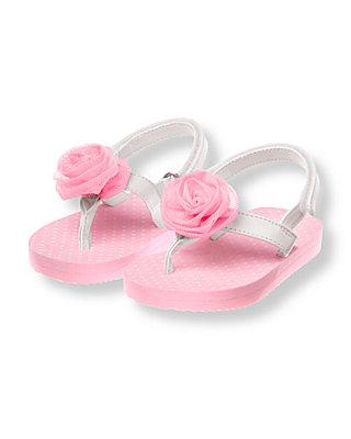 Lovely Pink Rosette Flip Flop at JanieandJack
