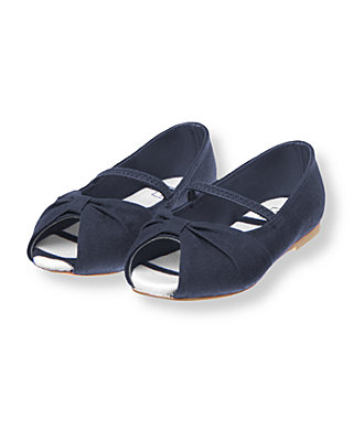 Classic Navy Canvas Peeptoe Shoe at JanieandJack