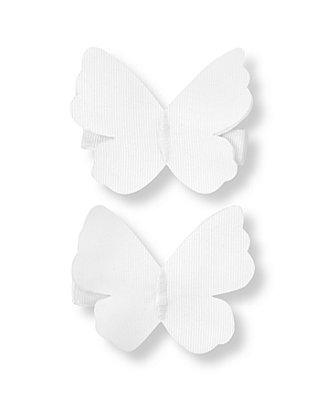Pure White Butterfly Barrette Two-Pack at JanieandJack