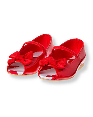Vintage Red Bow Patent Peep Toe Shoe at JanieandJack